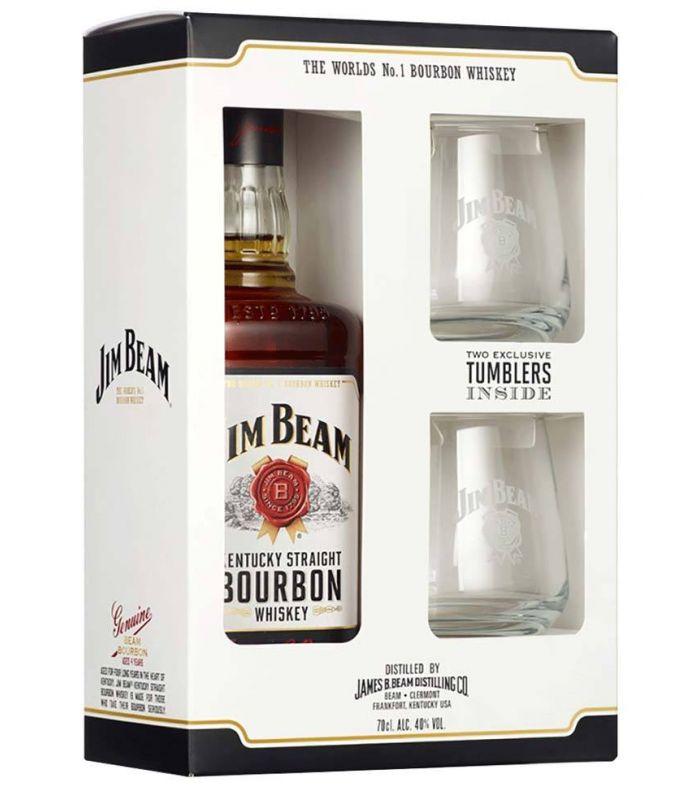Jim Beam Bourbon White Label Giftpack Met Glazen 70cl