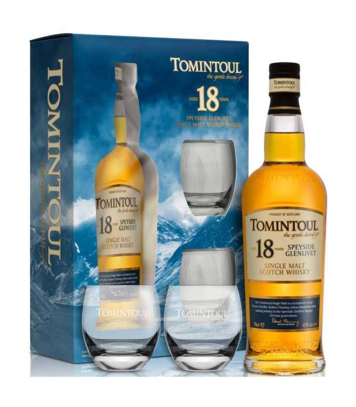Tomintoul 18 Years Giftpack Met Glazen 70cl