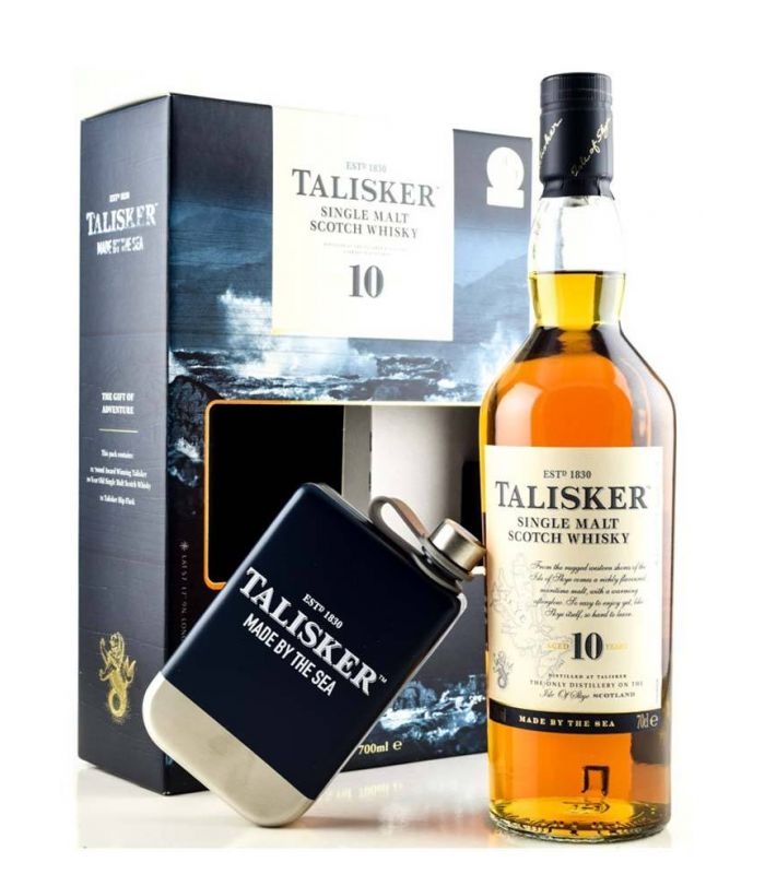 Talisker 10 Years Hip Flask Kadoverpakking 70cl